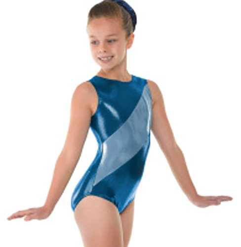 Tappers & Pointers Super Shiny Sleeveless Lycra Gymnastics Leotard- GYM12 (PARADISE BLUE, 11-12 YEARS)