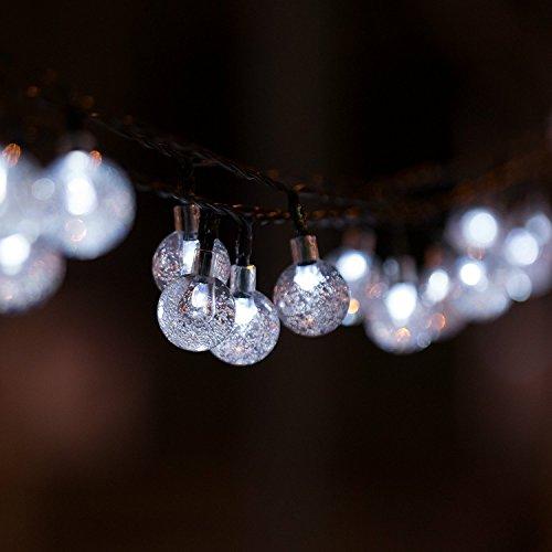 H&D Youngsun 40er LED Solar Lichterkette Globe 7,85 Meter Außen Innen Outdoor Garten Kugel Party Fest Deko Weihnachten Hochzeit Beleuchtung Kühlweiß