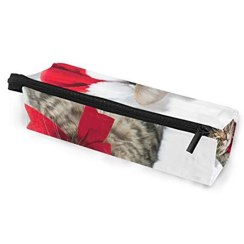 Pencil Bag Case Sonnenbrille Katze mit rotem Hut in der Nähe von Weihnachtsbaum Kosmetik Studenten Briefpapier Beutel Reißverschluss für Mädchen