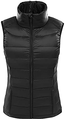 Valuker Women's Down Gilet with 90% Pure Down Ultra Light Puffer Jacket Vest Black-M UK:12