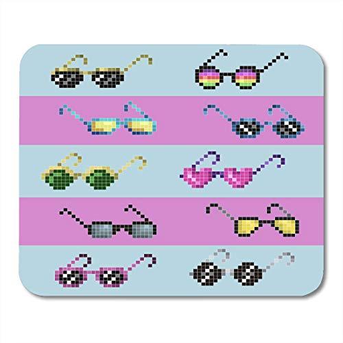 Mauspad mit grünem Aufkleber, schwarze Bit-Pixel-Sonnenbrille, Farbmuster blauer Geek Pink Thug Mauspad für Notebooks, Desktop Computer, Mauspad, 25 x 30 cm