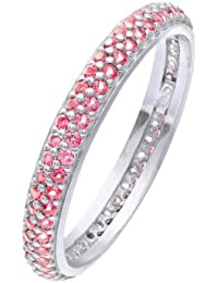 Citerna Rhodium Plated Silver Double Row Pink Cubic Zirconia Full Eternity Ring