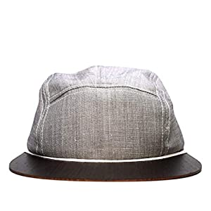 Cap in grau mit edlem Holzschild Made in Germany - Kappe Männer - Sehr leichte & bequeme Basecap - One size fits all Snapback Cappy