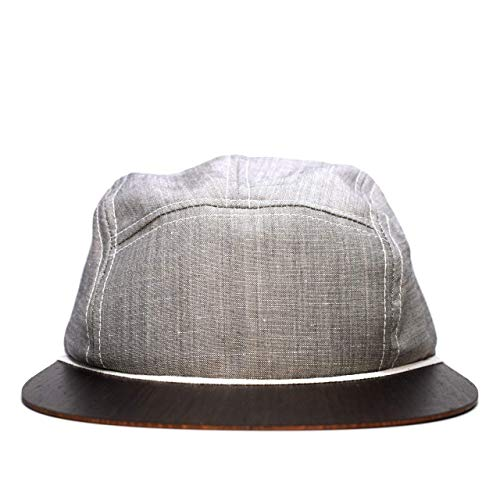Panel-wolle (Cap in grau mit edlem Holzschild Made in Germany - Kappe Männer - Sehr leichte & bequeme Basecap - One size fits all Snapback Cappy)