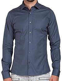 Redbridge Herren basic langarm Hemd Shirt Slim Fit Stretch-Anteil R-2111A