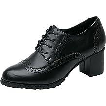 dfd05644257b2 Rismart Mujer Brogue Punta Puntiaguda Wingtips Cuero Oxfords Zapatos De  Cordones