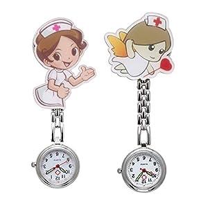 JSDDE Uhren 2X FOB Uhr Pflegeruhr Pulsuhr Kettenuhr Cartoon Mädchen Krankenschwester Engel Schwesternuhr Damen Taschenuhr Quarzuhr Uhren Set