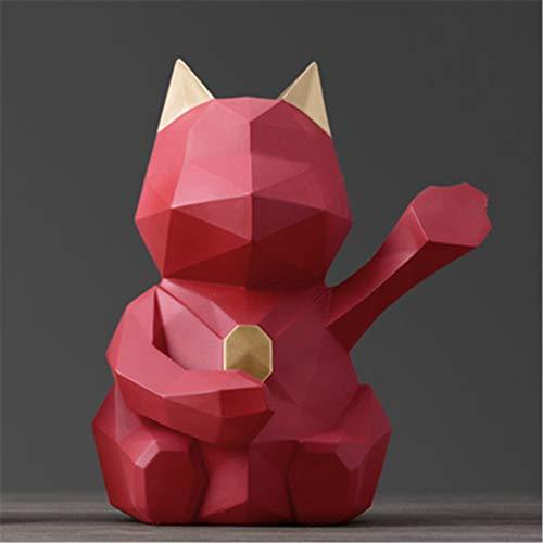 Dream Edge Deko Wohnzimmer Nordic Geometrie Sparschwein Glückliche Katze Erwachsene Große Sparschwein Dekoration Kreative Nette Kinder Münze Sparschwein (Size : L) -