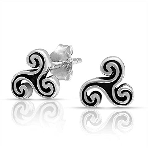 Brink Trinity Celtic Spiral Triskele Sterling Silver Stud Earrings 7mm