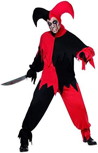 Böser Kostüm Hofnarr - costumebakery - Herren Männer Kostüm böser dunkler Harlekin Hofnarr mit Hose Oberteil und Hut, Creepy Dark Harlequin Jester Clown, perfekt für Halloween Karneval und Fasching, M, Rot