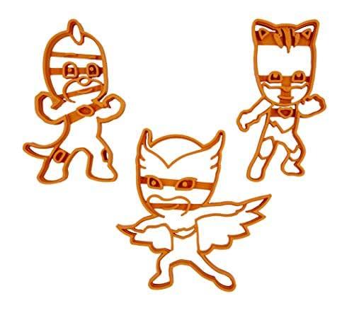 Set di 3 Tagliabiscotti a forma di personaggi dei PJ Masks Superpigiamini (Gattoboy, Geco e Gufetta)