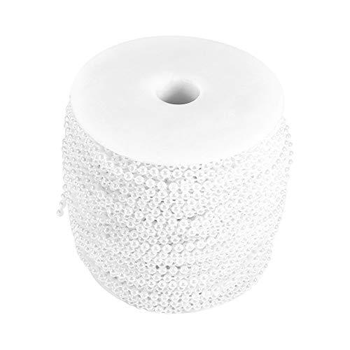 50m bobina di 3mm perle perline decorazione di nozze ghirlanda incatenato centro ( colore : bianca )