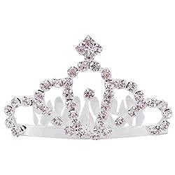 Aaishwarya Glittering Stone Studded Princess Tiara Small Size Hair Comb For Girls