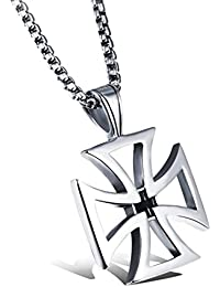 Iron Cross Chain, Templar Cross Pendant Necklace Set, Stainless Steel, Crusader, Rust-Proof Polished Necklace – Jewellery