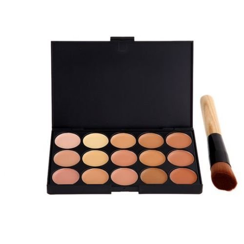Boolavard New 15 Colours Concealer Palette Kit with Brush Face Makeup Contour Cream