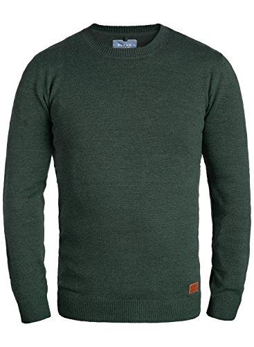 Blend Lars Herren Strickpullover Feinstrick Pullover Mit Rundhals Und Melierung, Größe:3XL, Farbe:Pine Green (77023) (Pine Green Bekleidung)