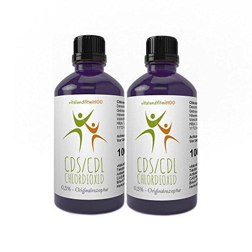 vitalundfitmit100 2X 100 ml Chlordioxid Lösung 0,3% - in Violett-Glasflasche - CDs/CDL - Chlordioxidlösung nach Originalrezeptur - Made IN Germany - Jetzt zum Megapreis! -
