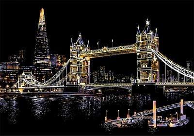 1PC Scratch Kunst berühmte Stadt-Nachtansicht Dazzling Papier Schabekarton DIY Craft Art Papier Heim Wohnzimmer-Dekoration (Tower Bridge, ohne Werkzeug)