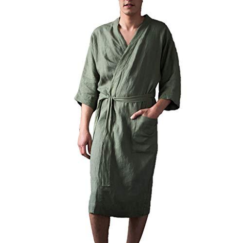 LHWY Herren Kurzarm Langer Bademantel Hauskleidung Einfarbig Leinen Pyjama Robe (Kostüme, Lustige Halloween Size Plus)