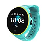 Xwly-sw GPS Smart Watch Kids Smart Phone Safe Positioning Watches Camera Call SOS Sleep Monitoring IPX4 Waterproof Best Gift for Girls Boys Children,Blue