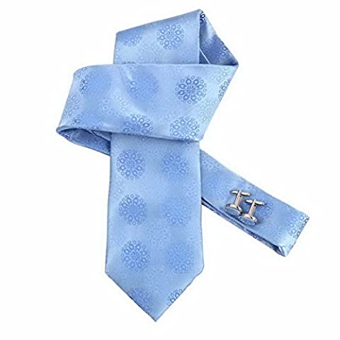 DAB1031 Business Presents Blue Patterned Woven Microfiber Tie Cufflinks Set with Gift Box Classy Gift By Dan