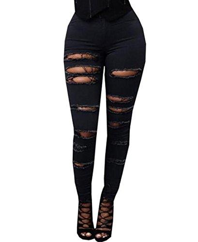 EASTDAMO Frauen hohe Taille dünne dünne Ausdehnung-Denim-Jeans-Hosen-Loch zerstört Black 01