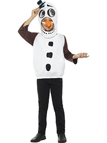 Smiffys Kinder Unisex Schneemann Kostüm, Oberteil, Karotten Nase und Kopfteil mit linsenförmigen 3D Augen, Alter: 10-12 Jahre, 48073