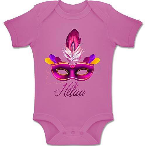 Shirtracer Anlässe Baby - Maske Helau - 1-3 Monate - Pink - BZ10 - Baby Body Kurzarm Jungen Mädchen (Spa-ton-maske)