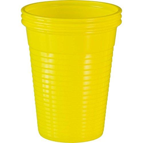 100 Stück Einwegbecher Gelb Plastikbecher Trinkbecher Becher Kunststoff Einweg 0,18 Liter (Kunststoff-reise-becher)