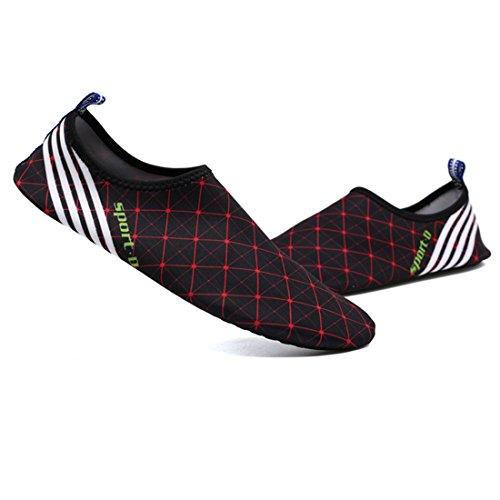 Cool&D Unisex Aquaschuhe Aqua Schuhe Atmungsaktiv Strandschuhe Schwimmschuhe Badeschuhe Wasserschuhe Surfschuhe für Damen Herren Kinder Rot