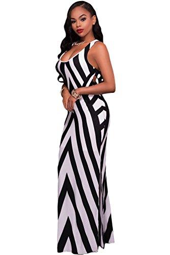 Damen Schwarz & Weiß diagonal gestreift Strappy Zurück Maxi Kleid Sommer Kleid Jersey Lang Party Kleid Größe M UK 10–12EU 38–40 (Zurück-jersey-kleid)