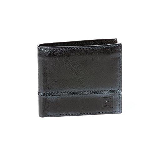 Portafoglio uomo piccolo in vera pelle con portamonete e tasca interna con zip DUDU Nero