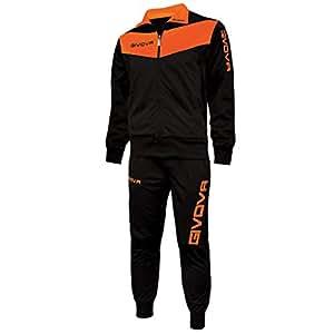 Givova Abbigliamento Sportivo Traicksuit Tuta Visa Nero-arancio fluo S