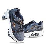 WYEING. Multifunktionale Deformation Schuhe Quad Skate Rollschuhe Skating Inline-Skate, 2-In-1-Mehrzweckschuhe, Verstellbare Quad-Rollschuh-Stiefel Outdoor Sportschuhe Für Erwachsene,Grau,42