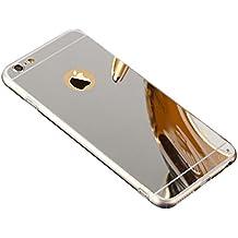 "Espejo Funda TPU Carcasa para Apple iPhone 6 / 6S 4.7"", Aohro Ultra Thin Mirror Efecto Trasero Caso Silicona Transparente Bumper Phone Frame Case Cover - Plata"