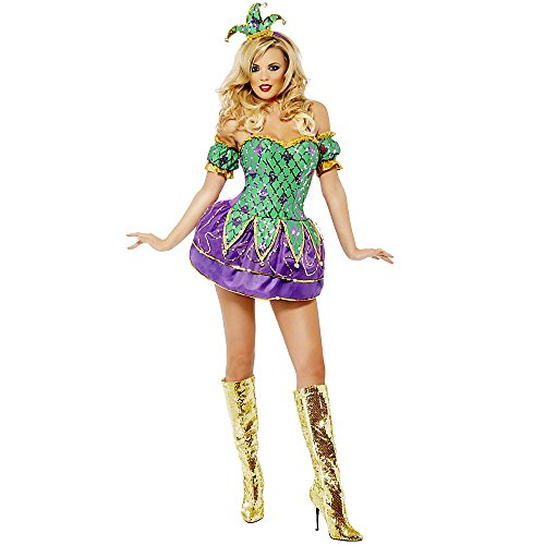 Pompöses Glamour Harlekin Kostüm für Damen-M