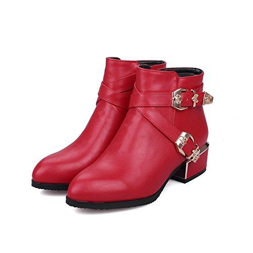VogueZone009 Donna Cerniera Tacco Basso Puro Bassa Altezza Stivali con Fibbia Rosso