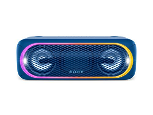 Sony SRS-XB40L - Altavoz inalámbrico portátil (Bluetooth, NFC, Extra Bass, 24 Horas de batería, Wireless Party Chain, luz Lineal, Flash estroboscópico), Color Azul