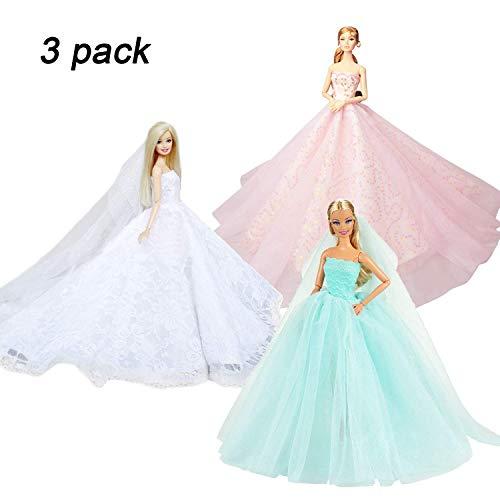 KidsHobby 3 Stück Kleider Set Abendkleid Ballkleid Prinzessin Kleidung Dress Bekleidung mit Brautschleier für Puppen Weihnachten Party Geschenke (A) (Kleidung Prinzessin Puppe)