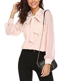 Donna Camicia Elegante Chiffon Top Manica Lunga Puro Colore Camicetta Blusa con Papillon Bianca Nero Blu