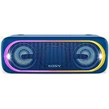 Sony SRS-XB40L - Altavoz inalámbrico portátil (Bluetooth, NFC, Extra Bass, 24 horas de batería, Wireless Party Chain, luz lineal multicolor, flash estroboscópico) color azul