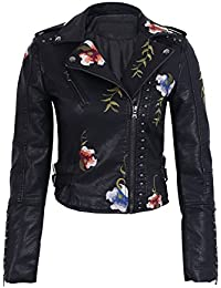 Simplee Apparel Women's Punk Embroidered Lapel Faux Leather Biker Short Jacket Outwear