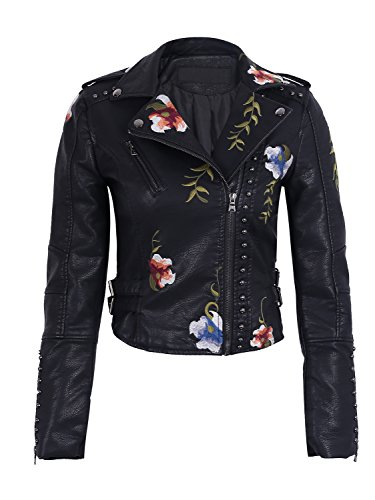 Simplee ropa punk bordado mujeres solapa Faux Leather Biker corta chaqueta Outwear negro