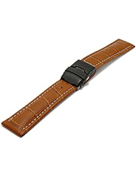 Meyhofer Uhrband Singapur 22mm hellbraun Leder Alligator-Prägung helle Naht schwarze Faltschließe MyHekslb202/...