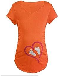 Q.KIM Witzige Süße Schwangere Maternity Damen Umstandsmode T-Shirts mit  Mutterschafts-Niedliche Lustige Schwangerschaft T-Shirt… e744b29a3c