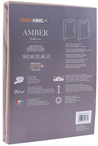 DecoKing 18248 80x200-90x200 cm Spannbettlaken Cappuccino 100% Baumwolle Jersey Boxspringbett Spannbetttuch Bettlaken Betttuch beige Amber Collection - 3