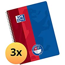 Oxford College Notepad School A4 Squared with Double Margin, 80 Sheets Ruler Duo 3 Piece Blue/red