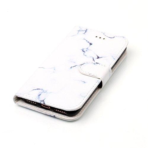 iPhone 7 Hülle,Lederhülle HandyTasche für iPhone 7,JAWSEU Vintage Retro Relief Prägung Muster PU Leder Hülle im Bookstyle Folio Schutzhülle Lederhülle Brieftasche Flipcase Handytasche Wallet Case Flip Weiß Marmor