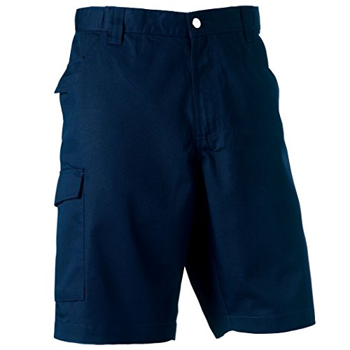 Russell Poly/Baumwolle Twill Workwear Shorts, Blau (Baumwolle Russell Shorts)