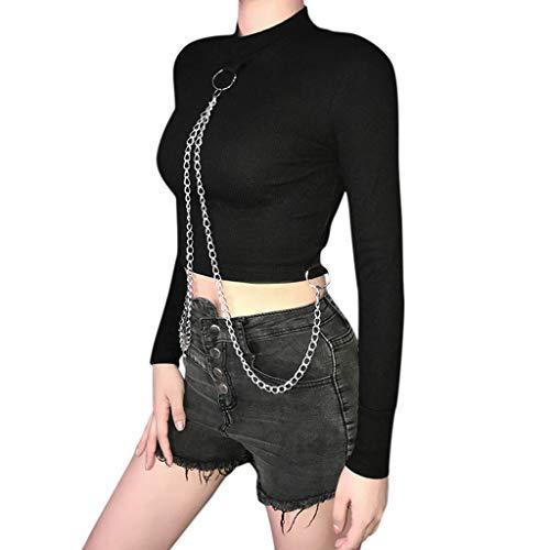 LQQSTORE Damen Kapuzenpullover Chain Slim Bauchfreies Langarm Short T-Shirt Bluse Tops Streetwear Hooded Patchwork Urban Retro (Schwarz, M) -